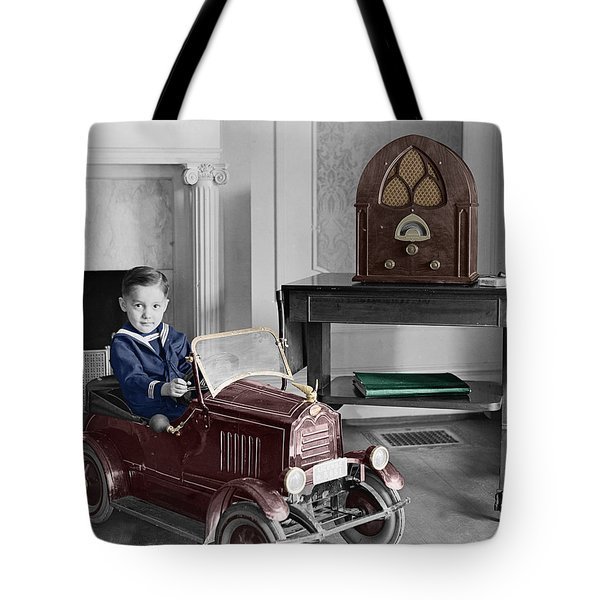 Boy With Toy Car Tote Bag by Andrew Fare