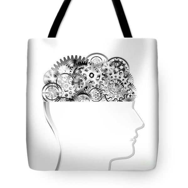 brain design by cogs and gears Tote Bag by Setsiri Silapasuwanchai