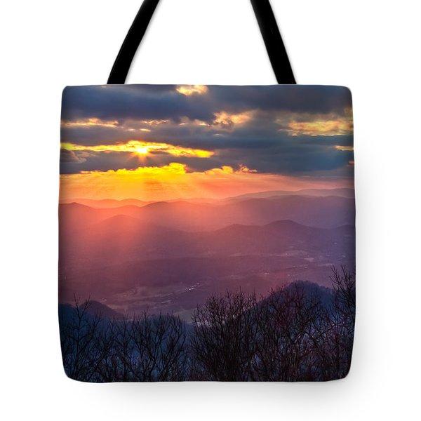 Brasstown Sunset Tote Bag by Debra and Dave Vanderlaan