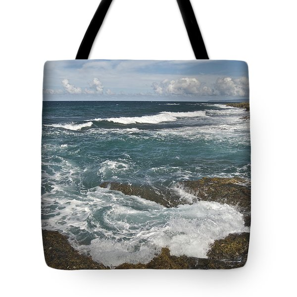 Breaking Waves 7919 Tote Bag by Michael Peychich