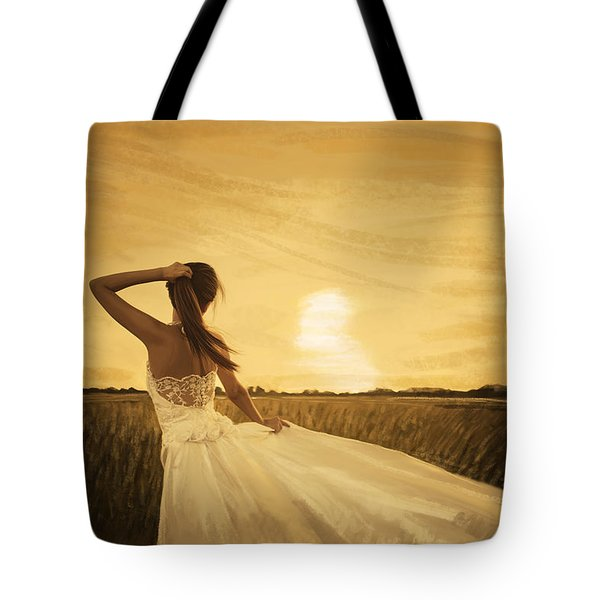bride in yellow field on sunset  Tote Bag by Setsiri Silapasuwanchai
