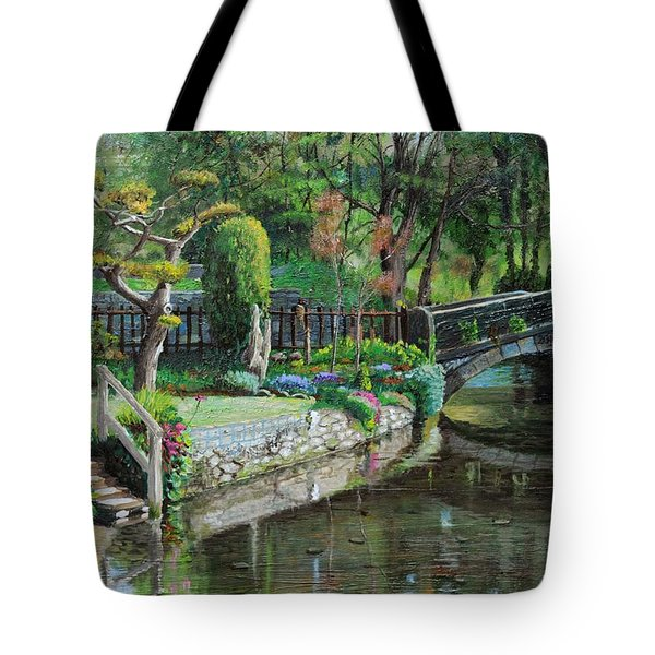 Bridge And Garden - Bakewell - Derbyshire Tote Bag by Trevor Neal