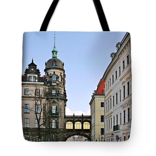 Bridge Over Taschenberg Street Dresden Tote Bag by Christine Till