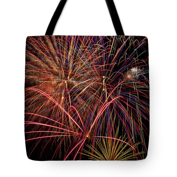 Bright Colorful Fireworks Tote Bag by Garry Gay