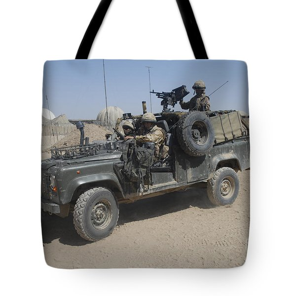 British Soldiers In Their Land Rover Tote Bag by Andrew Chittock