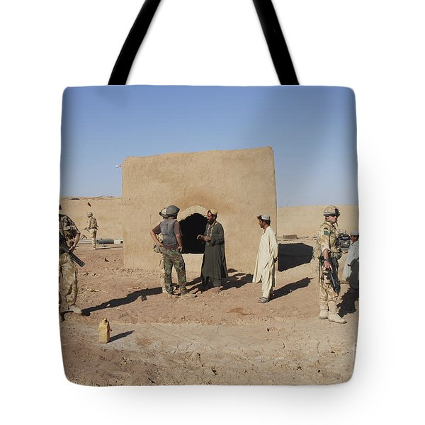 British Soldiers On Foot Patrol Tote Bag by Andrew Chittock