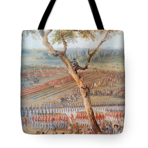 British Troops Surrender At Yorktown Tote Bag by Photo Researchers