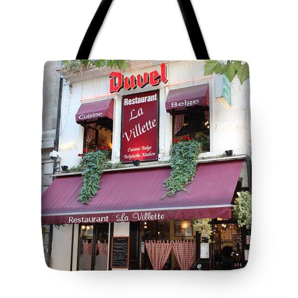 Brussels - Restaurant La Villette With Trees Tote Bag by Carol Groenen