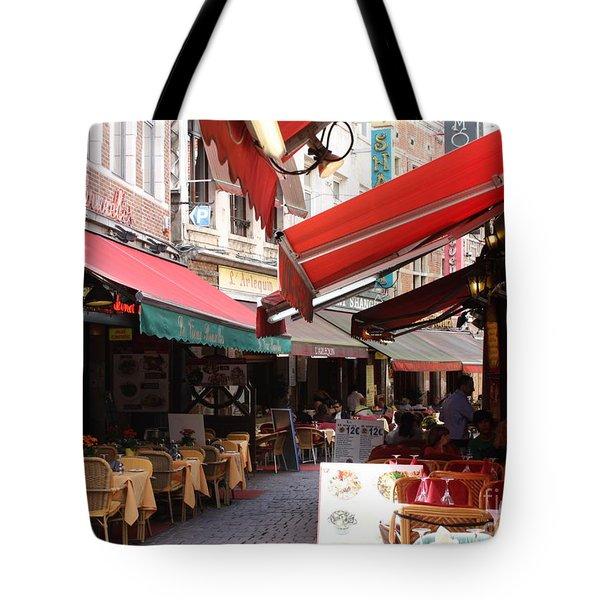 Brussels Restaurant Street - Rue De Bouchers Tote Bag by Carol Groenen