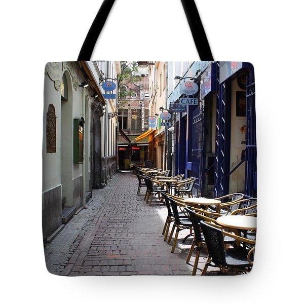 Brussels Side Street Cafe Tote Bag by Carol Groenen