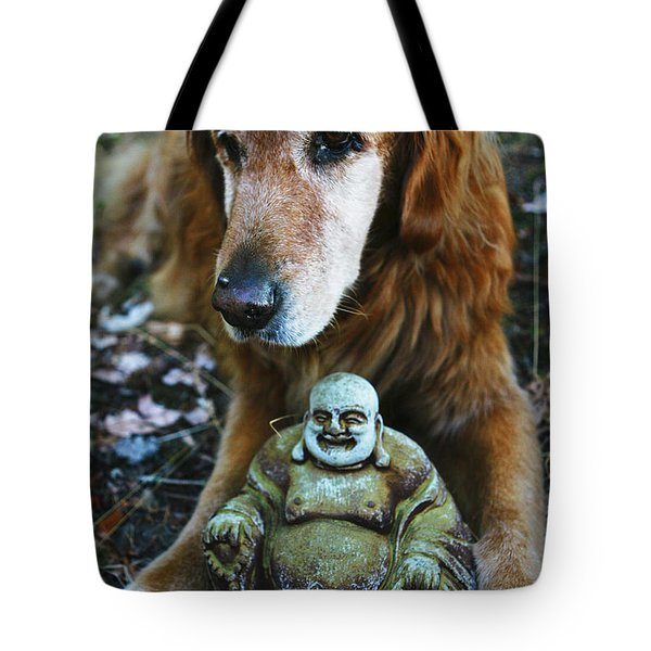 Buddha And The Old Boy Tote Bag by Lorraine Devon Wilke