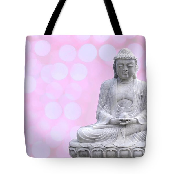 Buddha Enlightment Red-yellow Tote Bag by Hannes Cmarits