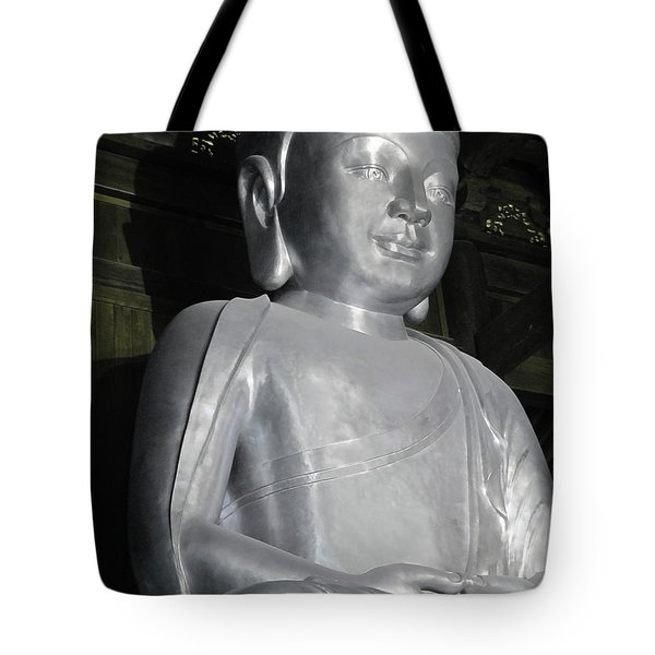 Buddha in solid silver - Jin'an Temple Shanghai Tote Bag by Christine Till