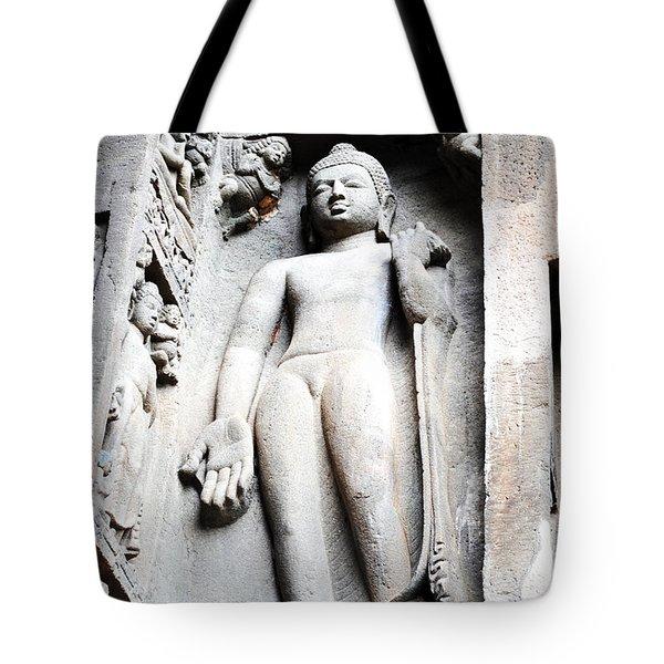 Buddha Statue At Ajanta Caves India Tote Bag by Sumit Mehndiratta