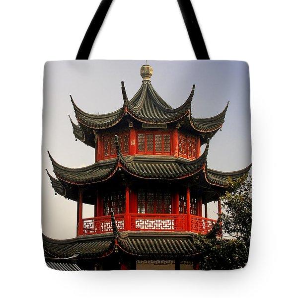 Buddhist Pagoda - Shanghai China Tote Bag by Christine Till