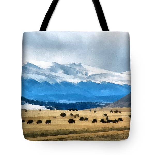 Buffalo Herd Painterly Tote Bag by Ernie Echols