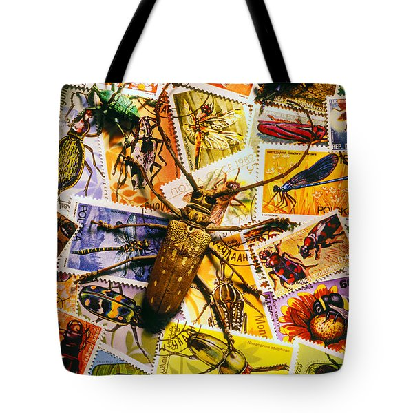 Bugs On Postage Stamps Tote Bag by Garry Gay