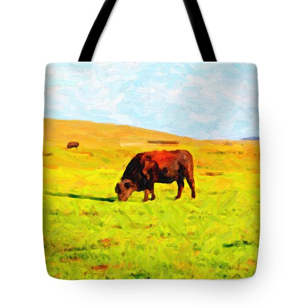 Bull Grazing in the Field Tote Bag by Wingsdomain Art and Photography