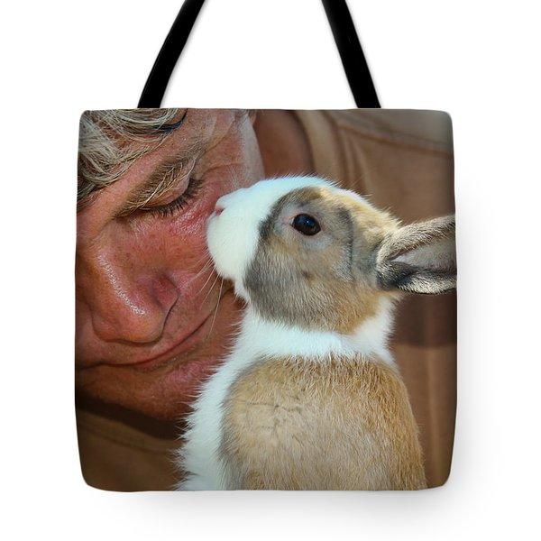 Bunny Kisses Tote Bag by Theresa Johnson