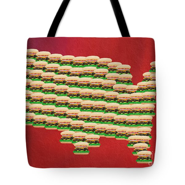 Burger Town Usa Map Red Tote Bag by Andee Design