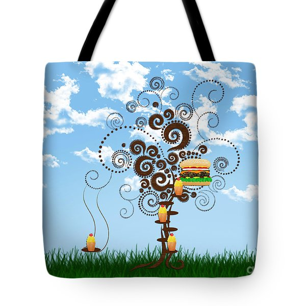 Burger Tree House And The Cupcake Kids  Tote Bag by Andee Design