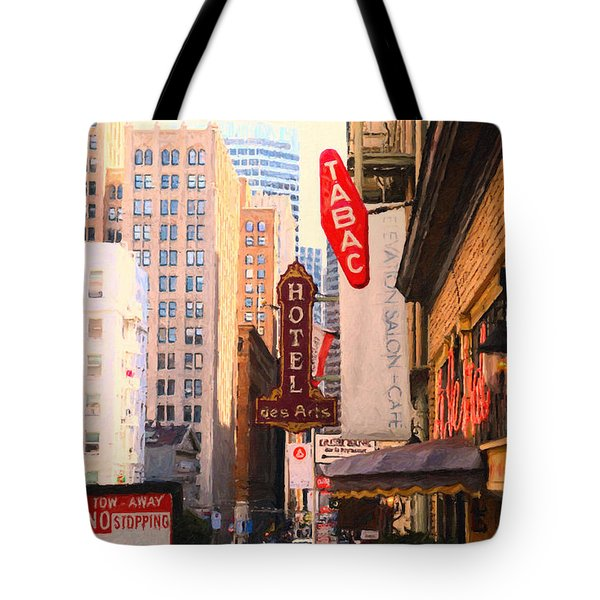 Bush Street In San Francisco Tote Bag by Wingsdomain Art and Photography