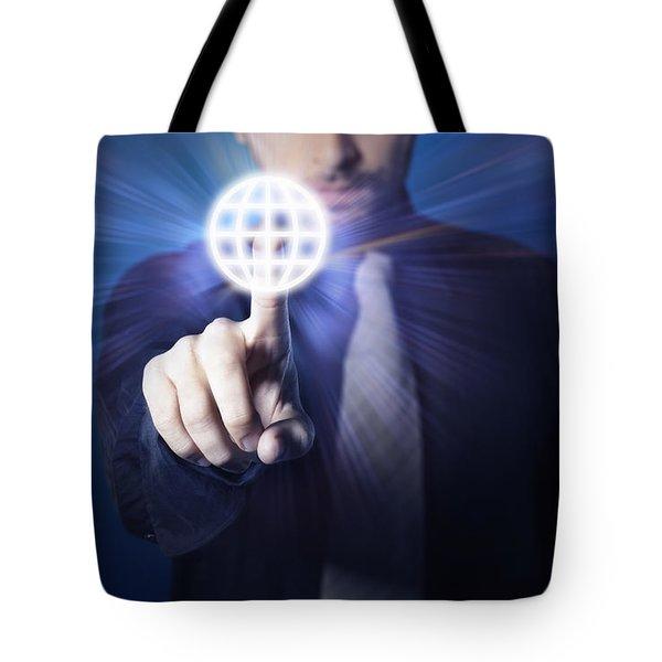 Businessman Pressing Touch Screen Button Tote Bag by Setsiri Silapasuwanchai