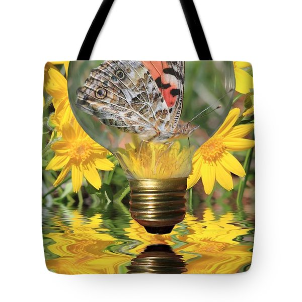 Butterfly In A Bulb II Tote Bag by Shane Bechler