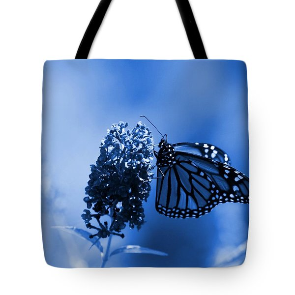 Butterfly In Blue Tote Bag by Angie Tirado