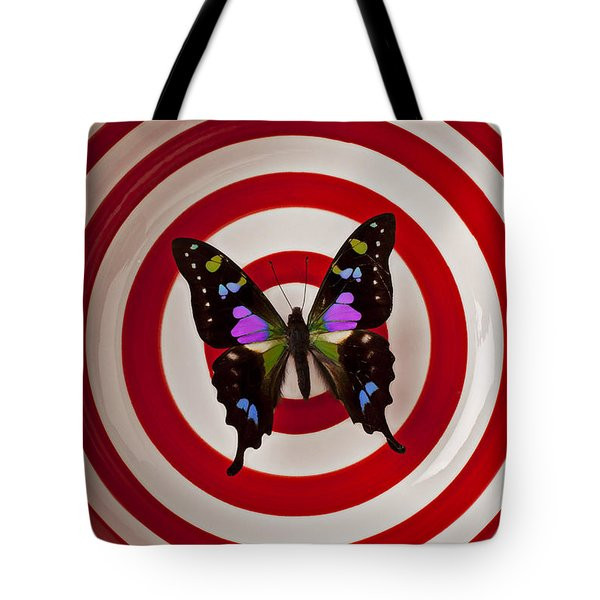 Butterfly In Circle Bowl Tote Bag by Garry Gay