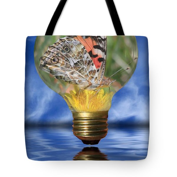 Butterfly In Lightbulb Tote Bag by Shane Bechler