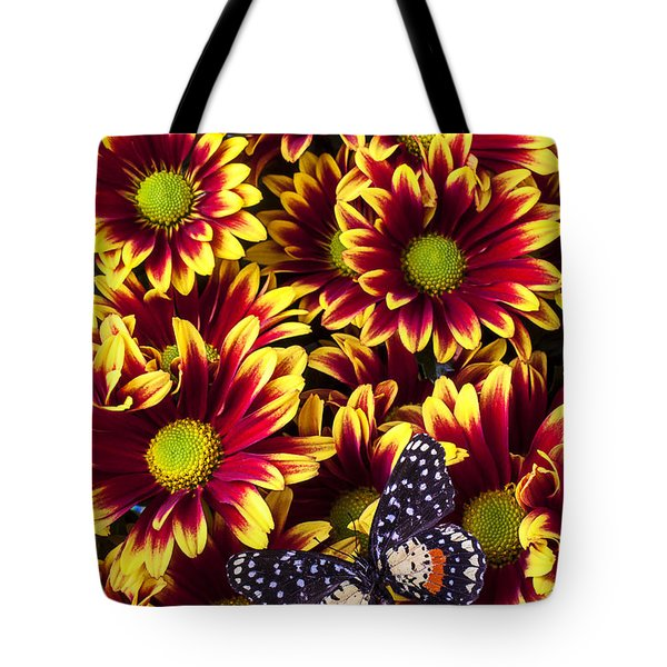 Butterfly on yellow red daises  Tote Bag by Garry Gay