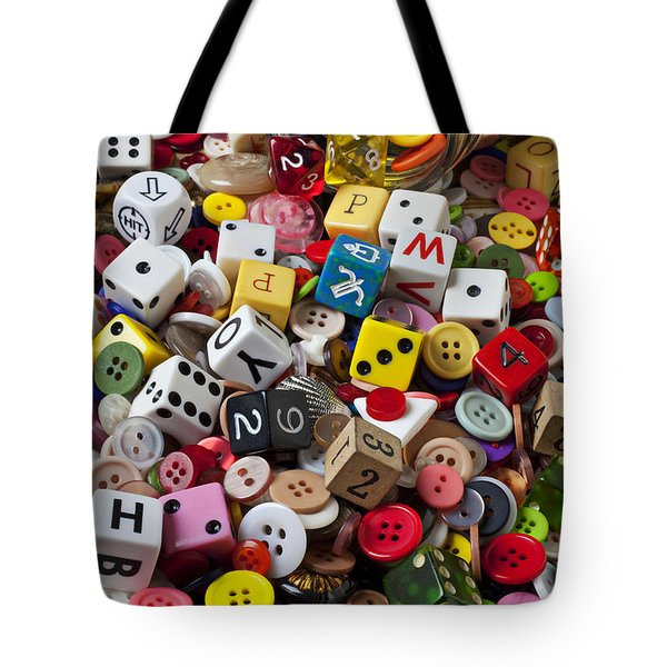 Buttons And Dice Tote Bag by Garry Gay