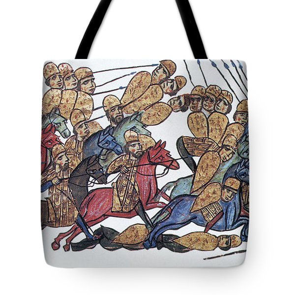 Byzantine Cavalrymen Rout Bulgarians Tote Bag by Photo Researchers