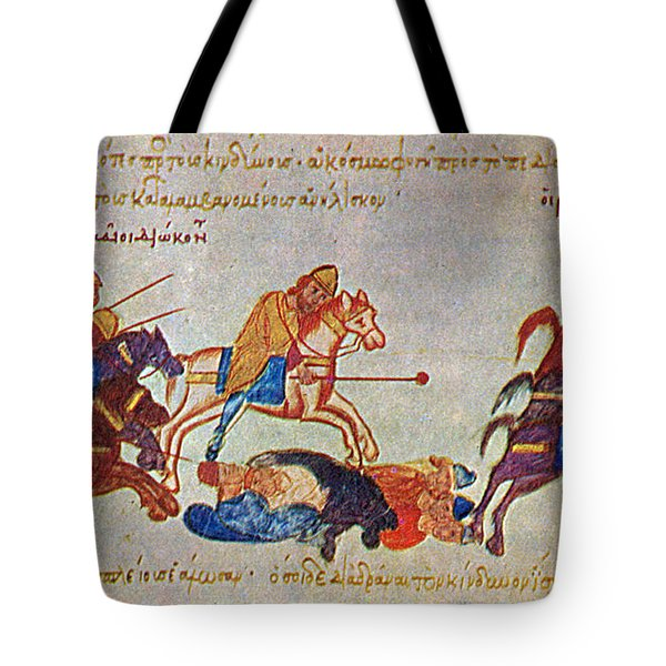 Byzantines Cavalrymen Pursuing The Rus Tote Bag by Photo Researchers