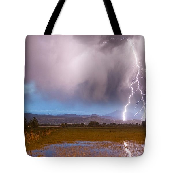 C2G Lightning Bolts Striking Longs Peak Foothills 6 Tote Bag by James BO  Insogna