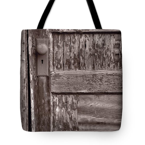 Cabin Door BW Tote Bag by Steve Gadomski