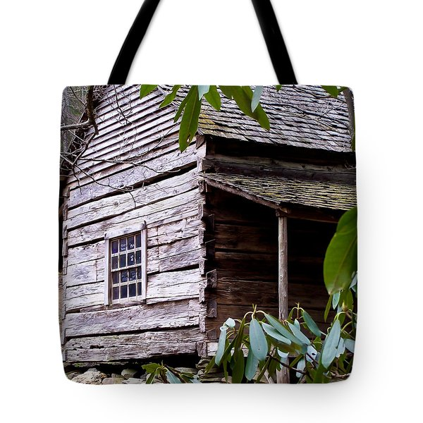 Cades Cove Cabin Tote Bag by Jim Finch