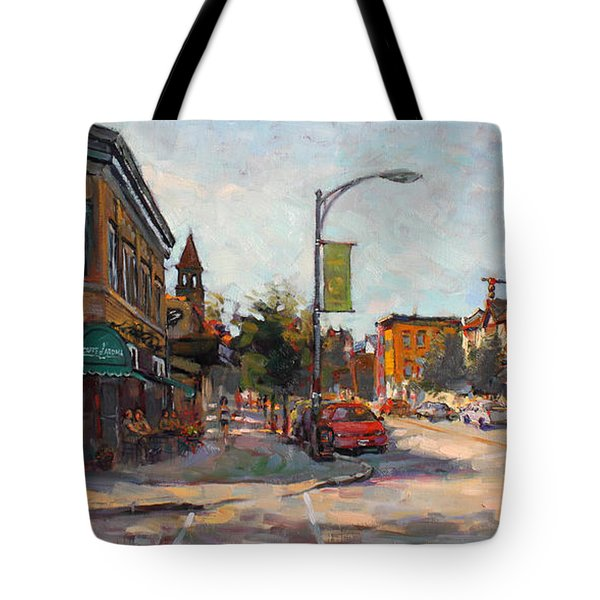 Caffe' Aroma In Elmwood Ave Tote Bag by Ylli Haruni