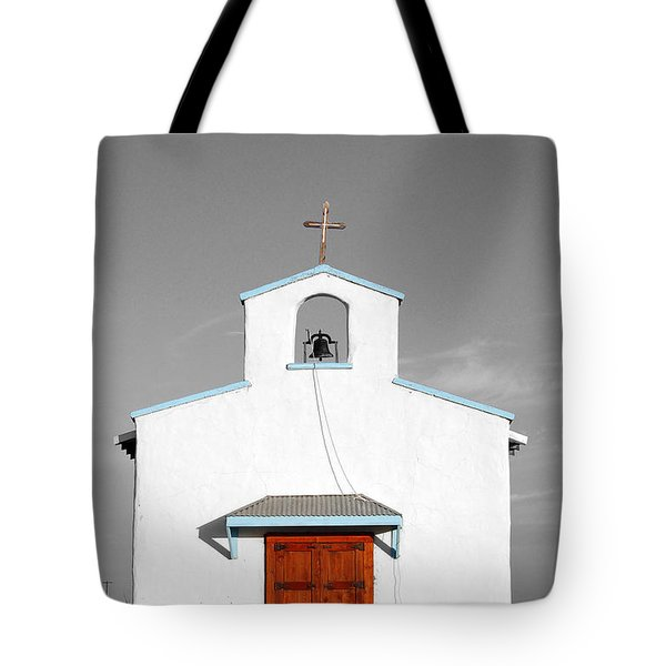 Calera Mission Chapel Facade in West Texas Color Splash Black and White Tote Bag by Shawn O'Brien