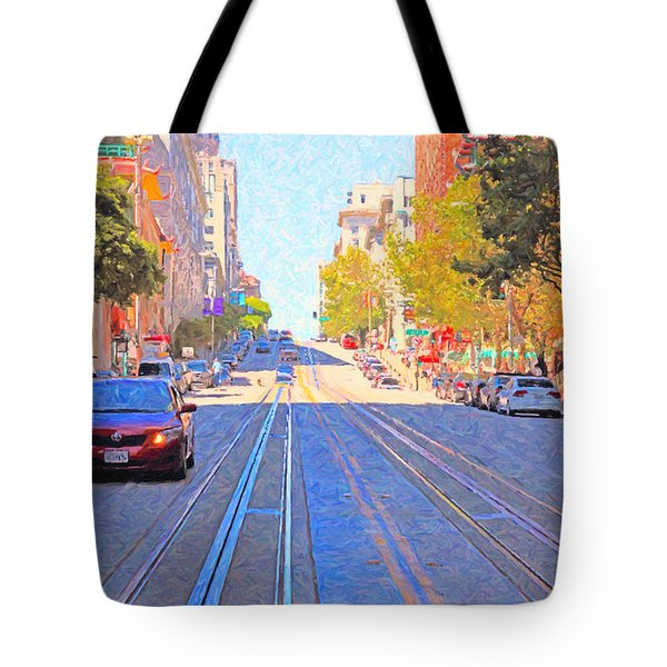 California Street In San Francisco Looking Up Towards Chinatown 2 Tote Bag by Wingsdomain Art and Photography