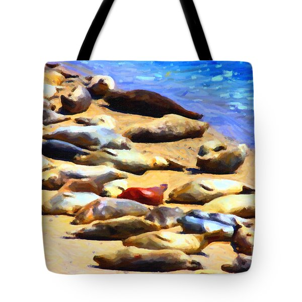 California Sunbathers . Harbor Seals Tote Bag by Wingsdomain Art and Photography