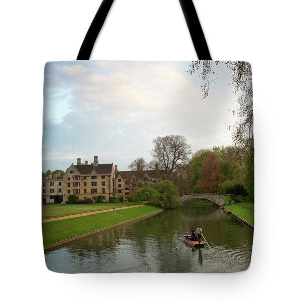 Cambridge Clare College Stream And Boat Tote Bag by Douglas Barnett