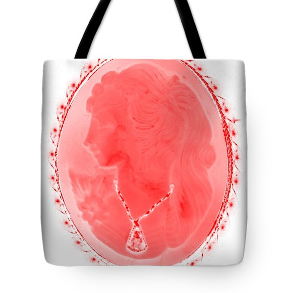 Cameo In Negative Red Tote Bag by Rob Hans