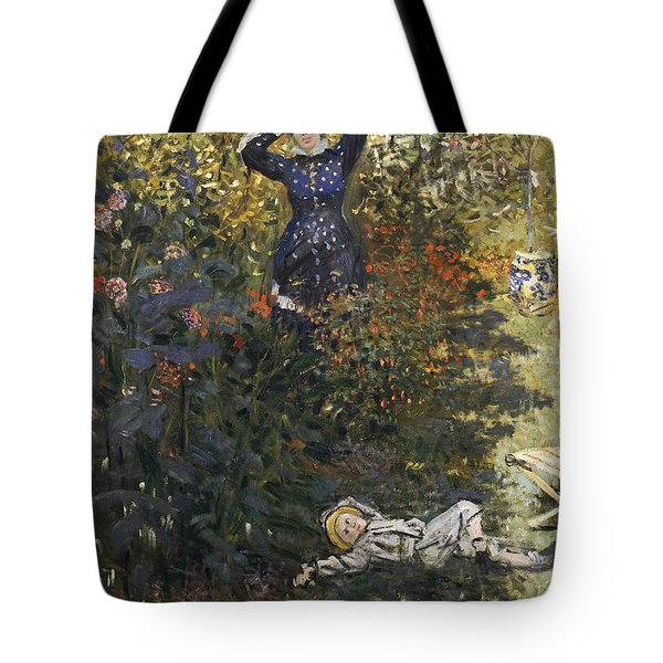 Camille And Jean In The Garden At Argenteuil  Tote Bag by Claude Monet