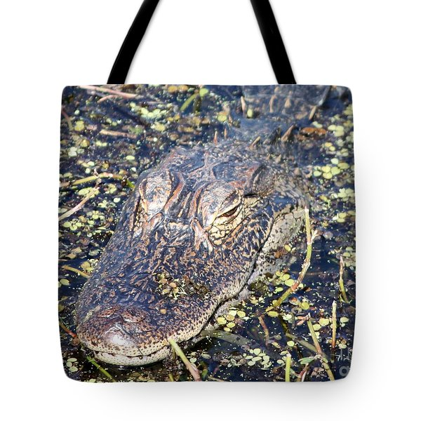 Camouflaged Gator Tote Bag by Carol Groenen