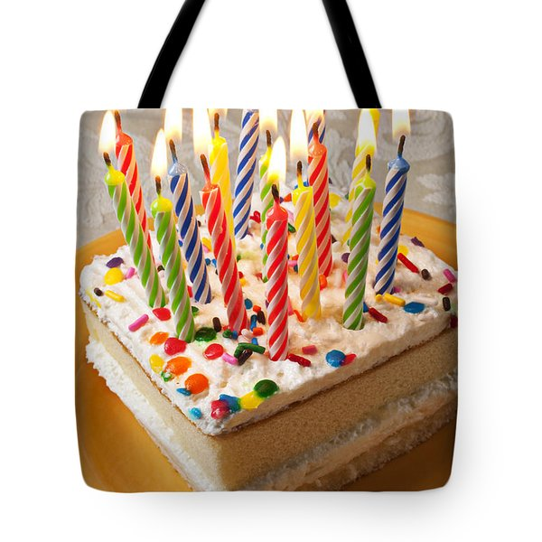 Candles on birthday cake Tote Bag by Garry Gay