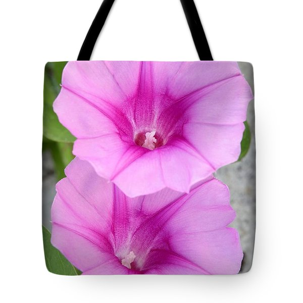 Candy Pink Morning Glory Flowers Tote Bag by Sabrina L Ryan