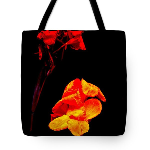 Canna Lilies On Black Tote Bag by Mother Nature