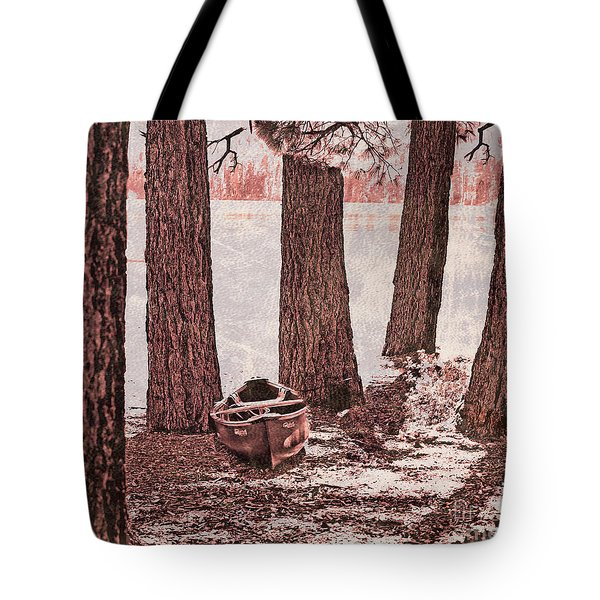 Canoe In The Woods Tote Bag by Cheryl Young